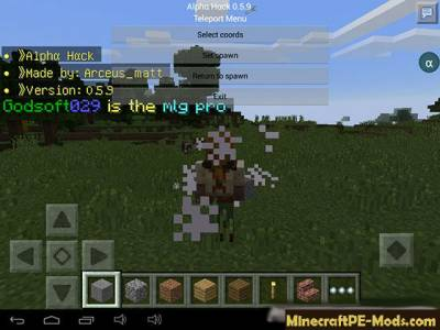 AlphaHack Mod For Minecraft PE 1.5.0, 1.4.4, 1.4.2, 1.2.16