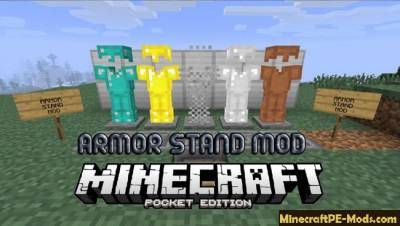 Armor Stand Mod For Minecraft PE 1.2.0, 1.1.5, 1.1.4, 1.1.3