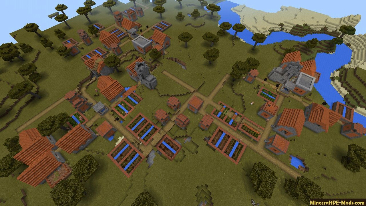 Village of mahogany with two forges Seeds For Minecraft PE 10.106.10