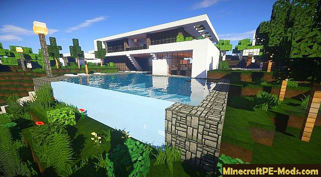 Flows hd for modern buildings mcpe texture pack 1 1 for Modern house minecraft pe 0 12 1