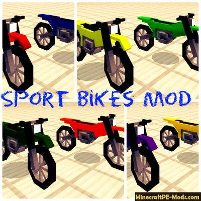 Sport Bikes Mod For Minecraft PE Bedrock 1.2.3, 1.2.2, 1.2.1, 1.2.0