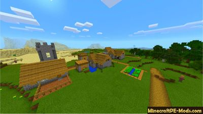 Survival Village at Spawn Minecraft PE Seed