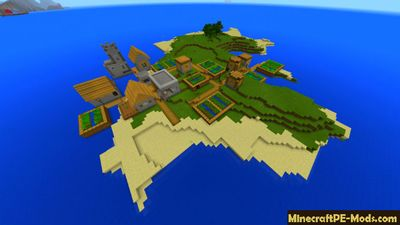 Tribal Village on Island Minecraft PE Seed