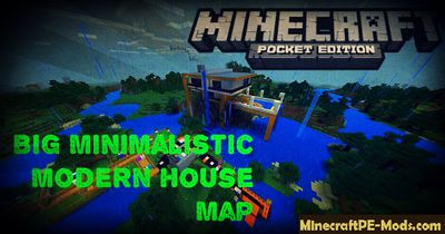 Big Minimalistic Modern House Minecraft PE Map