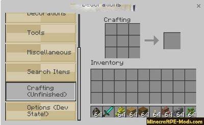 Advanced Сonvenient Inventory MСPE Mod 1.2.0, 1.1.5, 1.1.4