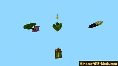5 flying Islands Minecraft PE Map