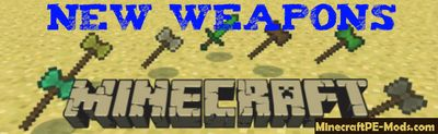 Best Vanilla Weapons Minecraft PE Bedrock Mod 1.13.8, 1.2.11.4