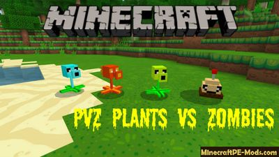 PVZ Plants vs Zombies Minecraft PE Mod 1.6.0, 1.5.0, 1.4.4