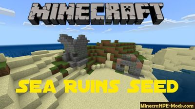 Sea Ruins on the Island Minecraft PE Seed