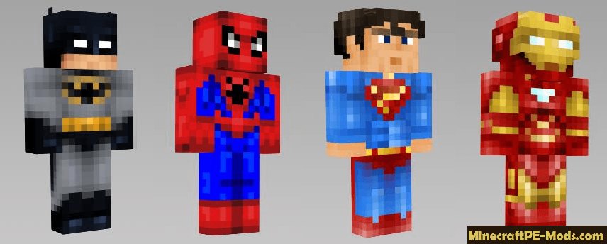Superheroes Skins Pack For Minecraft PE - Skins para minecraft pe de spiderman