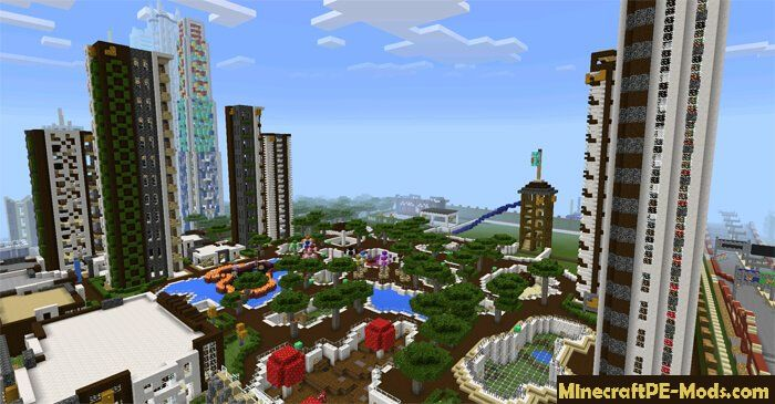 Giant City Map For Minecraft PE iOS and Android 1.12.0, 1.11.4, 1.11 on
