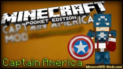 Captain America Minecraft PE Mod 1.1.0.1, 1.0.6, 1.0.5, 1.0.4