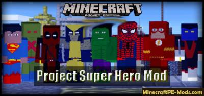 Project Super Hero Minecraft PE Mod 1.2.9, 1.2.8, 1.2.7, 1.2.6