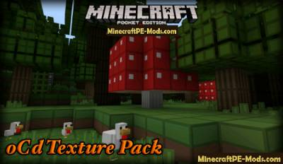 oCd Texture Pack for MCPE 1.2.9, 1.2.8, 1.2.7, 1.1.0