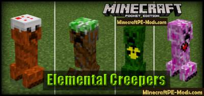 Elemental Creepers Mod For Minecraft PE 1.13.0, 1.12.0 iOS/Android