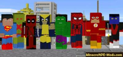 Project Super Hero Minecraft PE Mod 1.1, 1.0.5.13, 1.0.5, 1.0.0